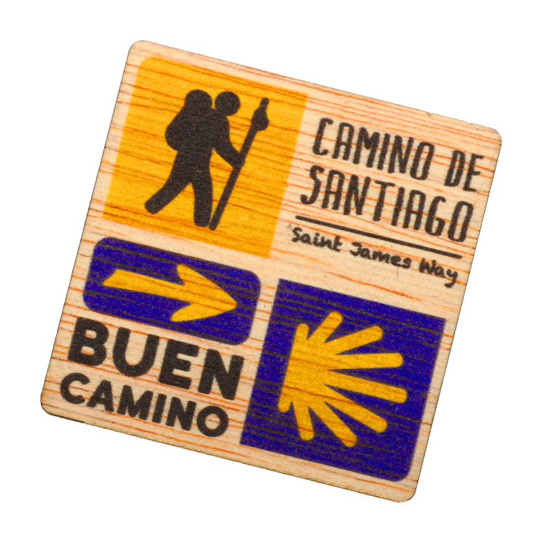 Painted wooden Magnet, Camino Signs