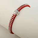 Leather bracelet glitter with Camino-shell, red