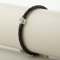 Leather bracelet braided with Camino shell, black