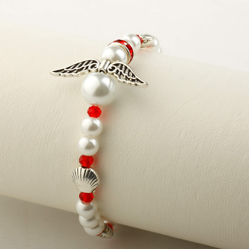 Camino Angel bracelet, white/red