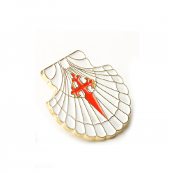 Metal pin - Camino shell with Santiago's cross