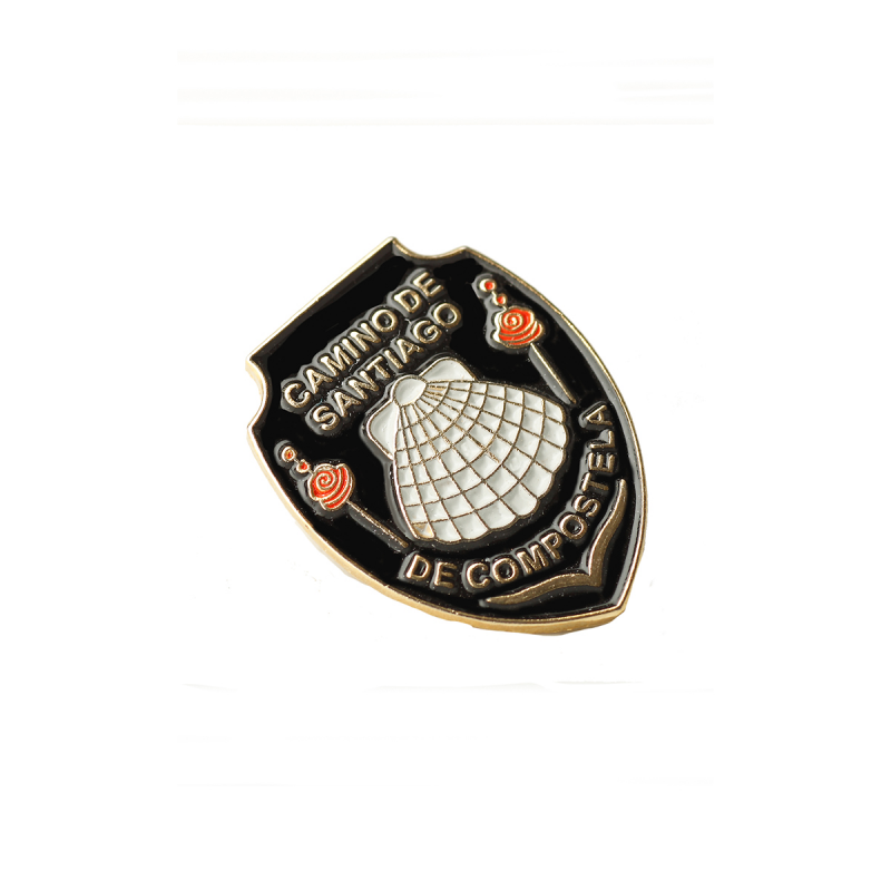 Metal pin - Camino de Santiago black shield