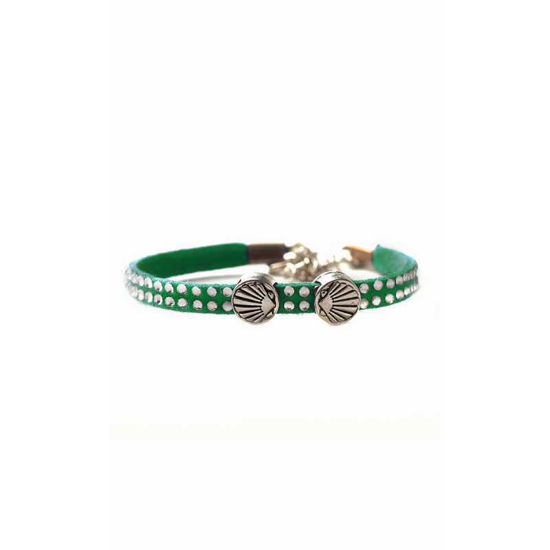 Leather bracelet glitter with Camino-shell, green